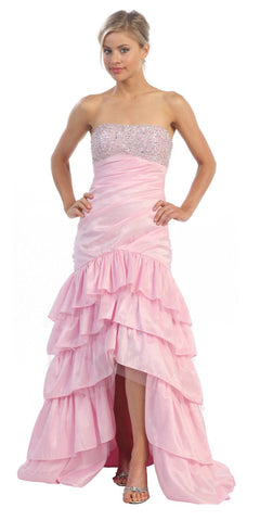 Taffeta Light Pink Dress Asymmetrical Ruffle Skirt Beaded Top Strapless