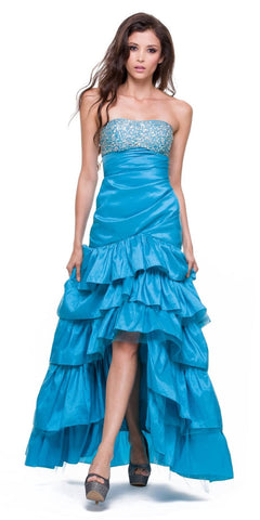 Taffeta Turquoise Dress Asymmetrical Ruffle Skirt Beaded Top Strapless