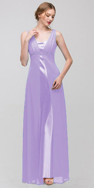 Long Sleeveless Belted Empire Waist Lilac  Bridesmaid Gown