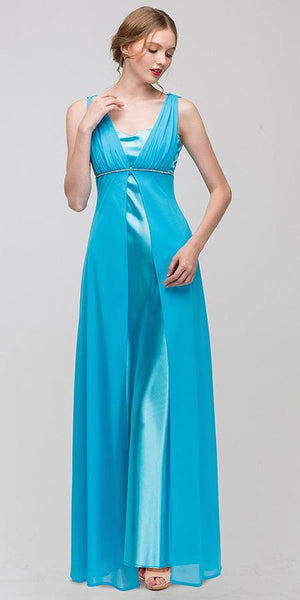 Long Sleeveless Belted Empire Waist Turquoise Bridesmaid Gown