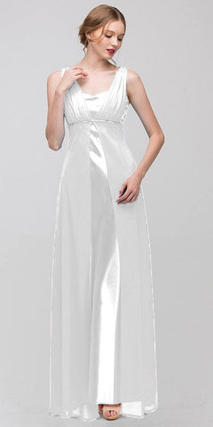 Long Sleeveless Belted Empire Waist White Bridesmaid Gown