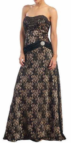 Long Gold Evening Gown Black Lace Bolero Sequin Beading Strapless