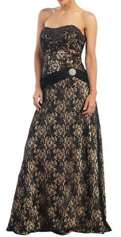 Long Silver Evening Gown Black Lace Bolero Sequin Beading Strapless