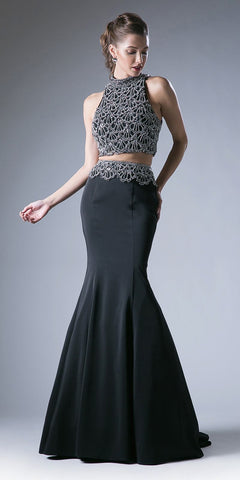 Cinderella Divine 11574 Two Piece Black Fitted Dress Halter Beaded Top Mermaid Skirt