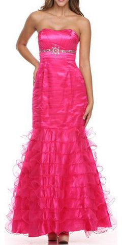 Long A-Line Fuchsia Pageant Dress Strapless Rhinestone Ruffle Tulle