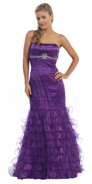 Long A-Line Purple Pageant Dress Strapless Rhinestone Ruffle Tulle