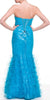 Long A-Line Turquoise Pageant Dress Strapless Rhinestone Ruffle Tulle