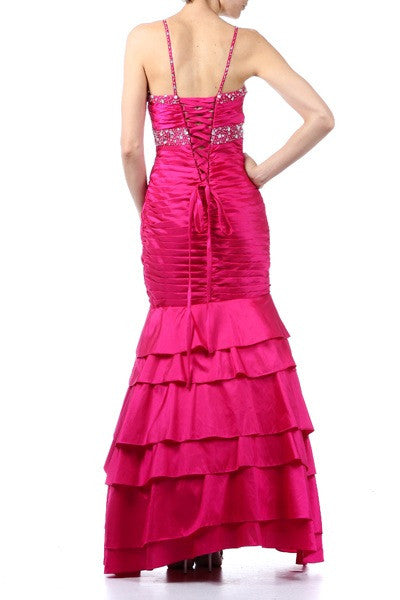 Exotic Fuchsia Formal Dress Long Taffeta Mermaid Style Layered Bead