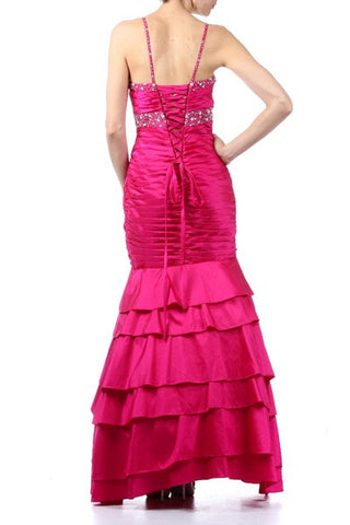 Exotic Fuchsia Formal Dress Long Taffeta Mermaid Style Layer Bead