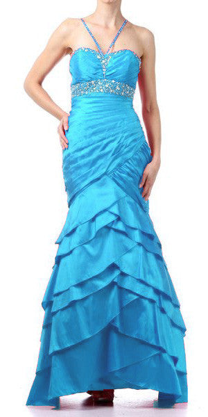 Exotic Turquoise Formal Dress Long Taffeta Mermaid Style Layered Bead