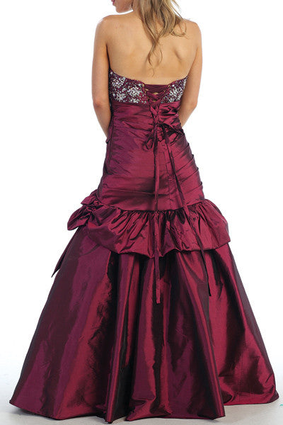 ON SPECIAL - Long Fuchsia Ball Gown Strapless Lace Up back Taffeta Beading