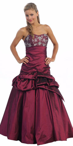 ON SPECIAL - Long Plum Ball Gown Strapless Lace Up Back Taffeta Beading - DiscountDressShop