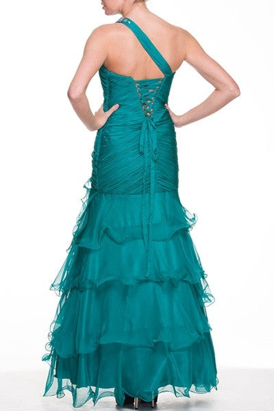 Single Strap Teal Green Formal Gown Full Length Chiffon Layers Ruched