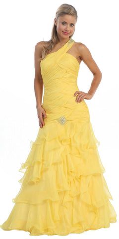 Single Strap Yellow Formal Gown Full Length Chiffon Layers Ruched