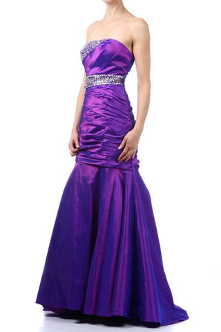 Mermaid Purple Gown Strapless Taffeta Rhinestone Bodice Tight Fit