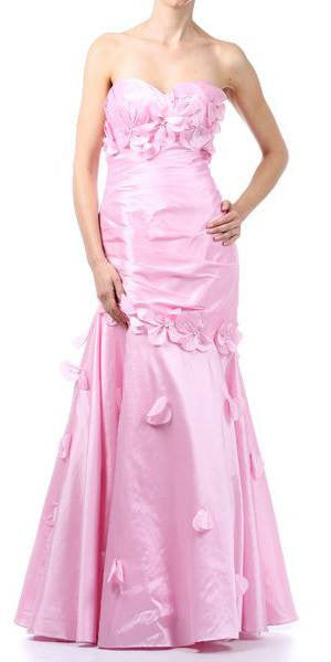 Light Pink Long Formal Gown Strapless Sweetheart Flower Appliques Dress