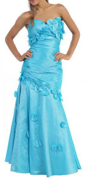 Turquoise Long Formal Gown Strapless Sweetheart Flower Appliques Dress