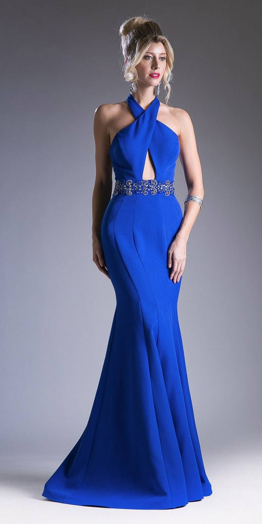 Royal Blue Halter Mermaid Long Prom Dress with Keyhole