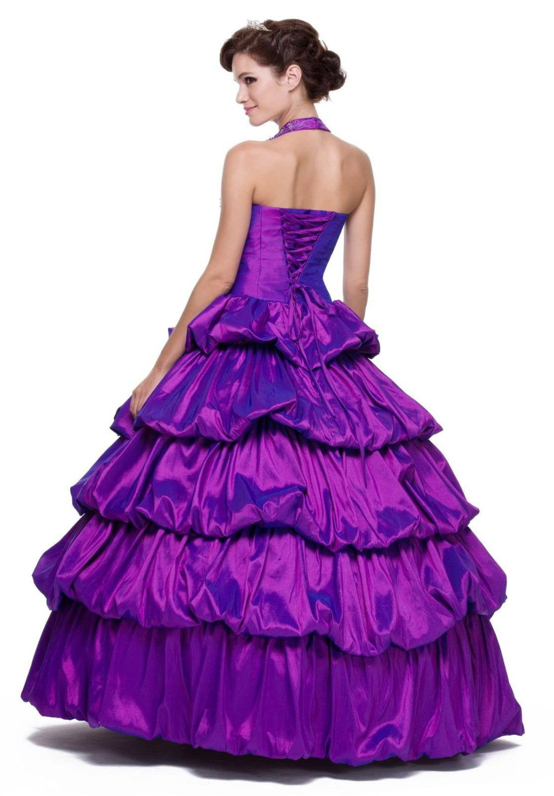 Long Poofy Purple Cinderella Dress Strapless Quinceanera Puffy Gown