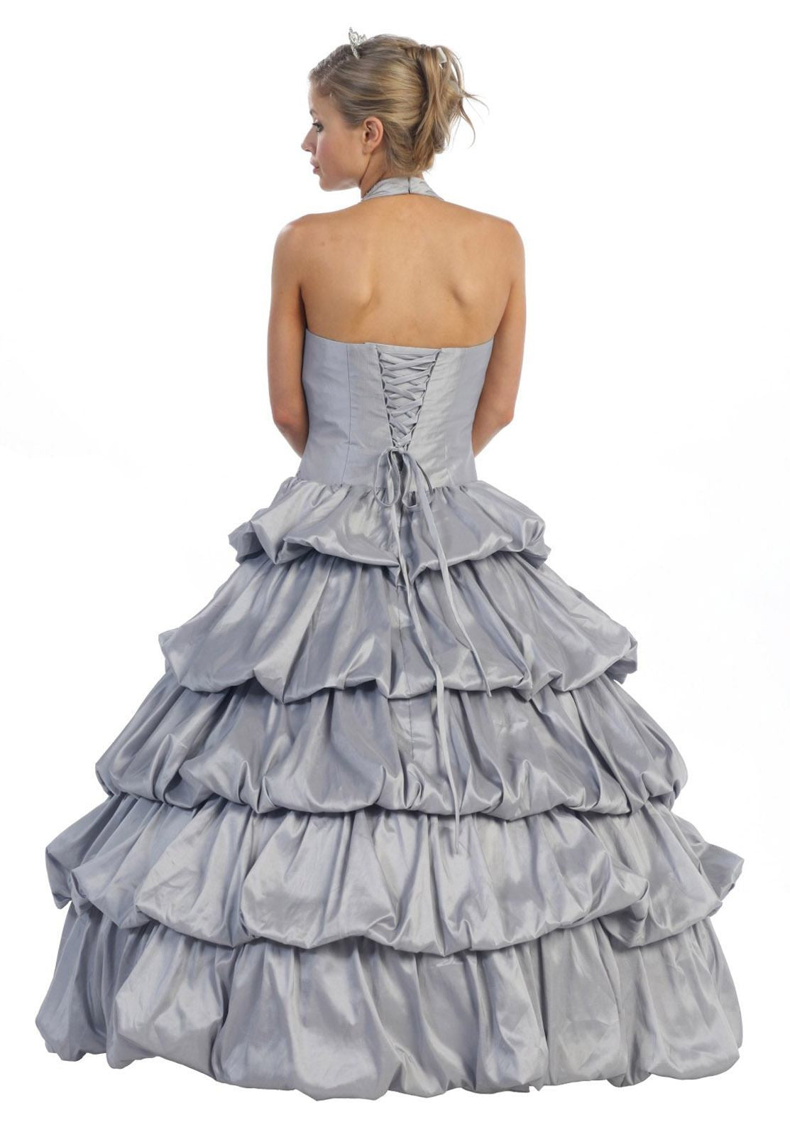 Long Poofy Silver Cinderella Dress Strapless Quinceanera Puffy Gown ...