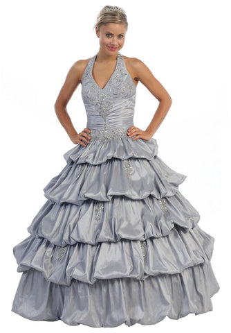 Long Poofy Silver Cinderella Dress Strapless Quinceanera Puffy Gown