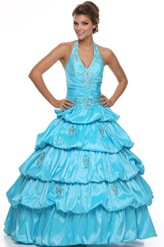 Long Poofy Turquoise Cinderella Dress Strapless Quinceanera Puffy Gown