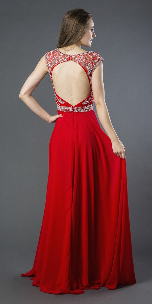 Sleeveless Long A-line Prom Gown Cut-Out Back Red