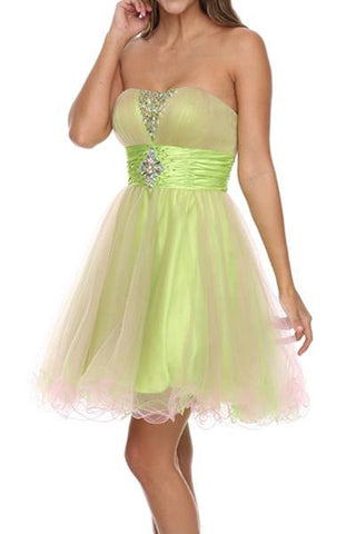 Lime Green/Pink Tulle Dress Poofy Short Strapless Beading Empire Waist