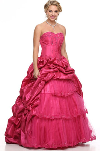 ON SPECIAL - LIMITED STOCK - Long Poofy Fuchsia Cinderella Dress Strapless Quinceanera Puffy Gown - DiscountDressShop