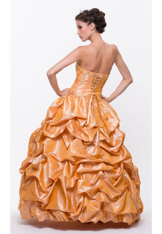 ON SPECIAL - LIMITED STOCK - Long Poofy Gold Cinderella Dress Strapless Quinceanera Puffy Gown - DiscountDressShop