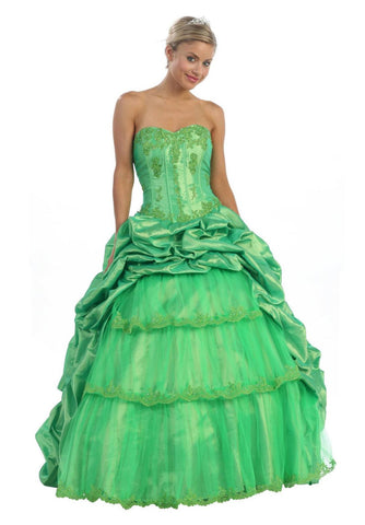 ON SPECIAL - LIMITED STOCK - Poofy Lime Green Cinderella Dress Strapless Quinceanera Puffy Gown - DiscountDressShop