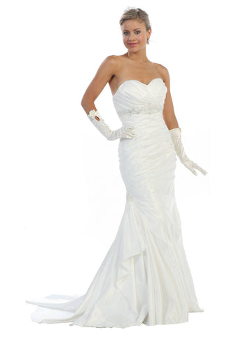 Strapless Mermaid Wedding Dress Ivory Bridal Satin Sweetheart Gown