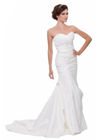 Strapless Mermaid Wedding Dress White Bridal Satin Sweetheart Gown
