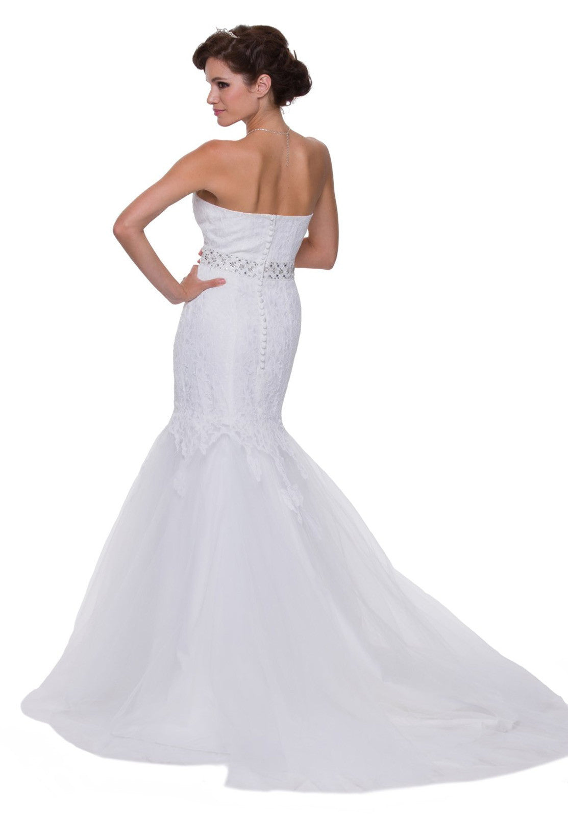 Strapless White Lace Wedding Dress Tulle Skirt Sweetheart Neck Gown