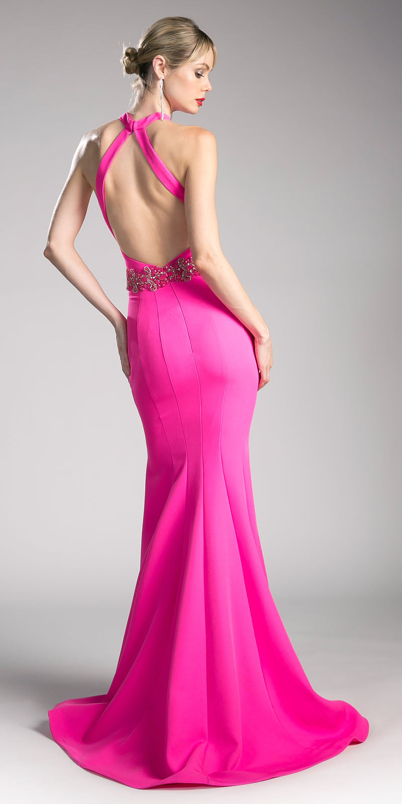 Cinderella Divine 11978 Hot Pink Halter Mermaid Long Prom Dress with ...