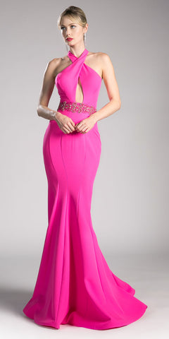 Hot Pink Halter Mermaid Long Prom Dress with Keyhole