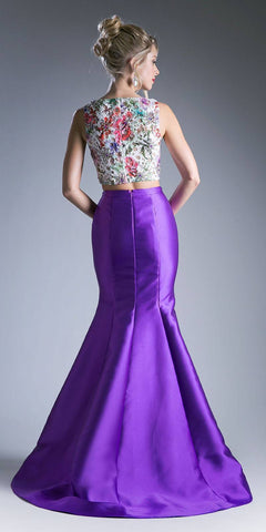 Cinderella Divine 12013 Two Piece Mermaid Dress Purple Laser Cut Lace Top Mikado Skirt