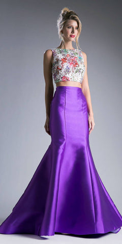 Cut-Out Back Mermaid Long Prom Dress with Slit Violet