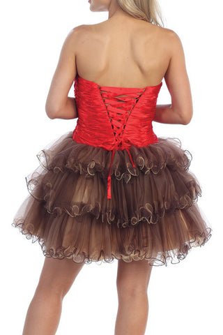 Animal Leopard Print Brown Sweet 15 Dress Red Satin Waist Tulle Skirt