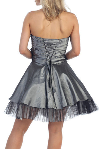 Lace Up Back Charcoal Dress Short A Line Strapless Taffeta Beading