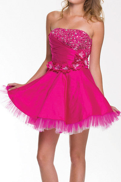 Lace Up Back Fuchsia Dress Short A Line Strapless Taffeta Beading