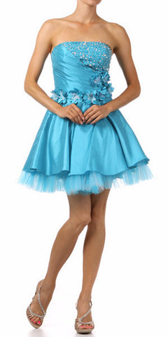 Lace Up Back Turquoise Dress Short A Line Strapless Taffeta Beading