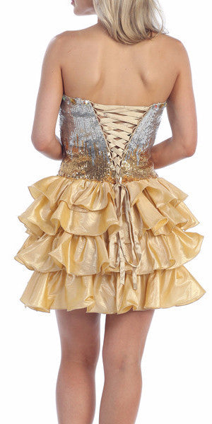 Lace Up Back Gold Dress Short Foiled/Metallic Top Ruffled Skirt