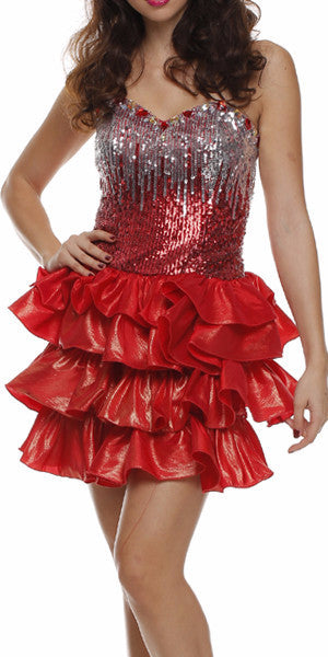 Lace Up Back Red Dress Short Foiled/Metallic Top Ruffled Skirt