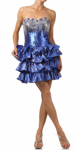 Lace Up Back Royal Dress Short Foiled/Metallic Top Ruffled Skirt