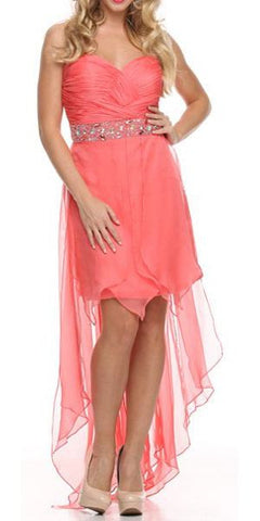 Coral High Low Dress Prom Lace Up Back Strapless Bead Waist
