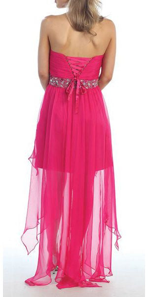 Fuchsia High Low Dress Prom Lace Up Back Strapless Bead Waist Back