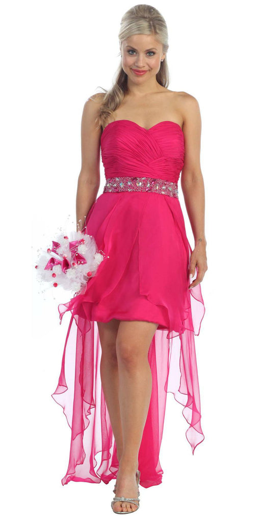 Fuchsia High Low Dress Prom Lace Up Back Strapless Bead Waist