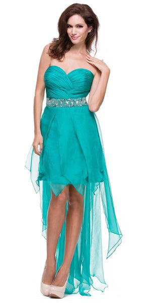 Teal Green High Low Dress Prom Lace Up Back Strapless Bead Waist