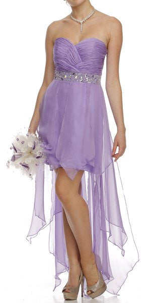 Lilac High Low Dress Prom Lace Up Back Strapless Bead Waist